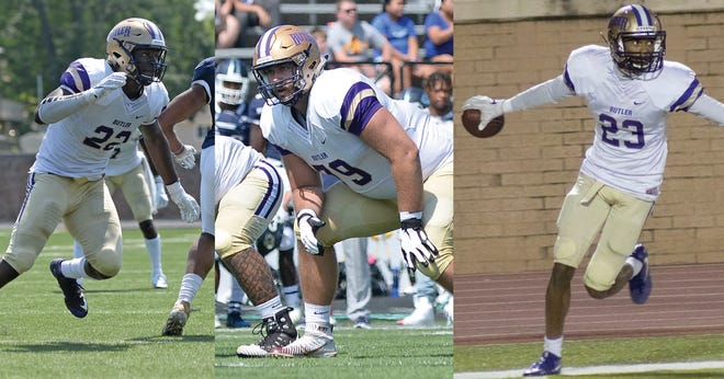 Jordan Smith (left), Josh Ball (middle) and Tay Gowan (right) were all selected in the 2021 NFL Draft.