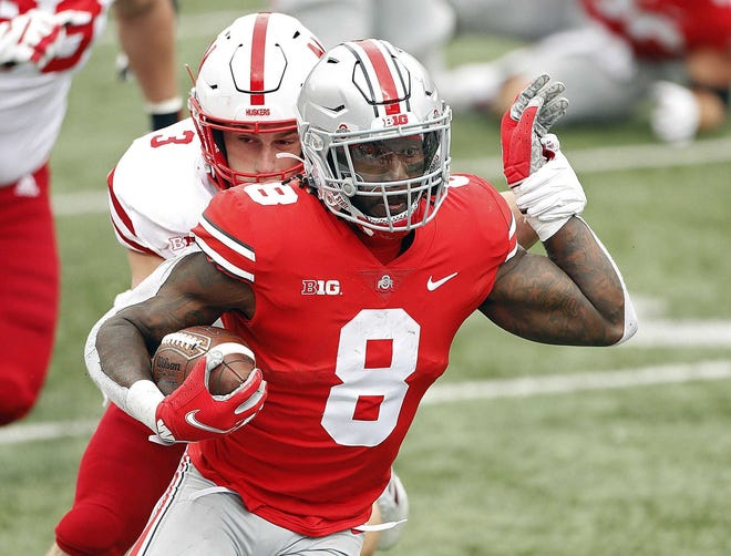 Trey Sermon led Ohio State's running backs with 48 yards against Nebraska, but as a group the RBs had only 44 yards rushing on 14 carries in the first half.