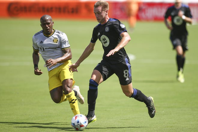 May 1, 2021; Fort Lauderdale, FL, USA; CF Montreal midfielder Djordje Mihailovic (8) controls the ball around Columbus Crew SC midfielder Darlington Nagbe (6) during the first half at DRV PNK Stadium. Mandatory Credit: Sam Navarro-USA TODAY Sports