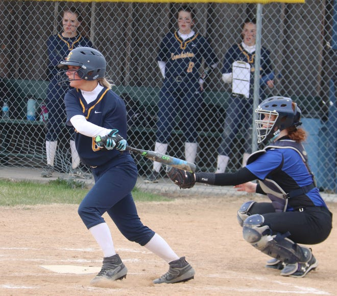 Kenze Epema in a game against NCE/U-H on April 30. Epema had two of Crookston's three hits in a 5-2 loss to East Polk on Monday.