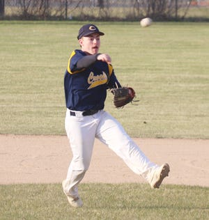 Jacob Miller in a game against Bagley on May 4. Miller went 3-for-3 in the second game of Friday's doubleheader against Thief River Falls.