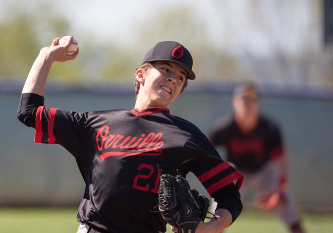 Daniel Malcuit pitches for Orrville. He picked up the win for the Riders, allowed three runs in 4 and 2/3 innings.