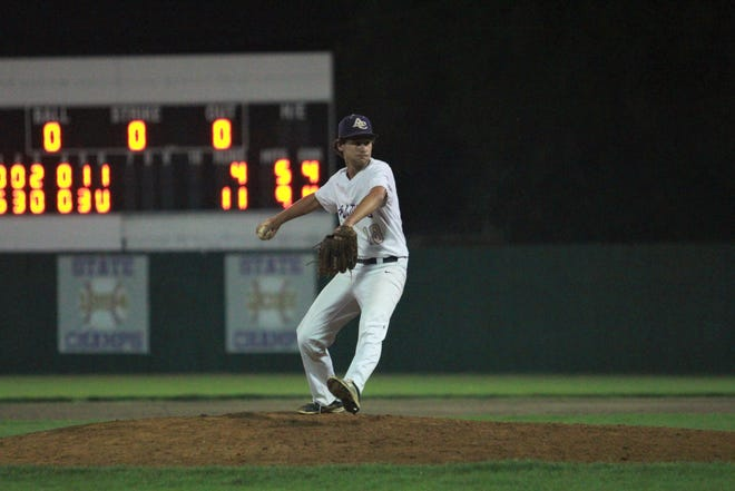 Ascension Catholic's pitcher Kaleb Reddicks closed out the Bulldogs' 11-4 victory over St. Martin's.