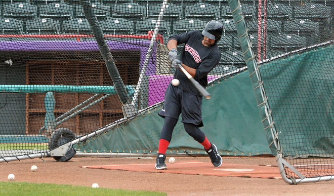 A member of the Erie SeaWolves takes batting practice on Saturday at UPMC Park in Erie. It was the first practice of the new season, after a year missed due to the COVID-19 pandemic.
