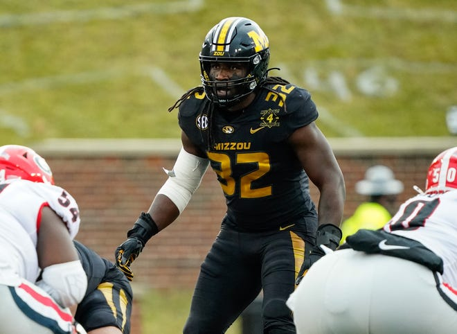 Missouri Tigers linebacker Nick Bolton (32) was selected by the Kansas City Chiefs with the 58th pick in the NFL Draft Friday night.