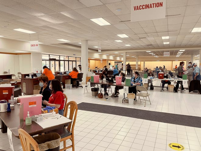 FILE PHOTO: The Knox County Unified Command Vaccine Center opened at the former Bergners store on May 1. The Knox County Health Department continues vaccinations at that site. STEVE DAVIS/For The Register-Mail