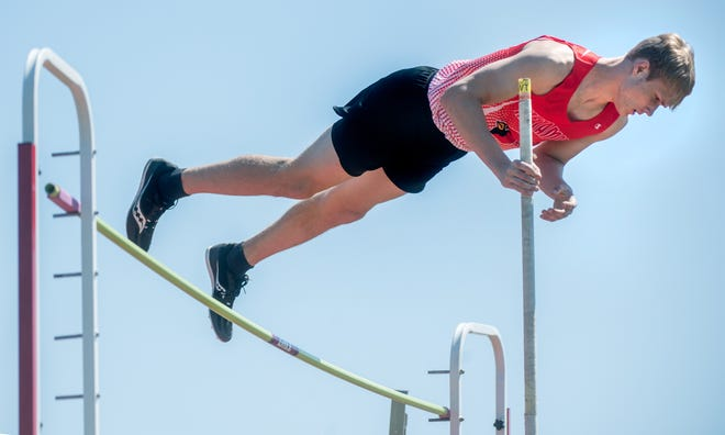 Metamora's Cade Ward competes in the pole vault event during the Metamora Co-Ed Invitational on Saturday, May 1, 2021 in Metamora.