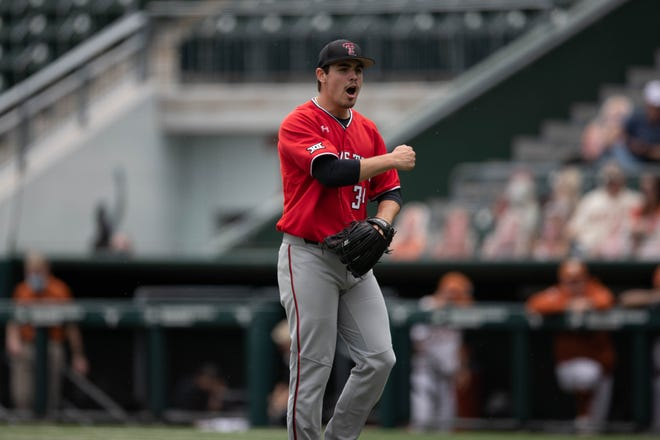 Texas Tech's Micah Dallas celebrates during a Big 12 Conference game Saturday against No. 3 Texas at UFCU Disch-Falk Field in Austin.