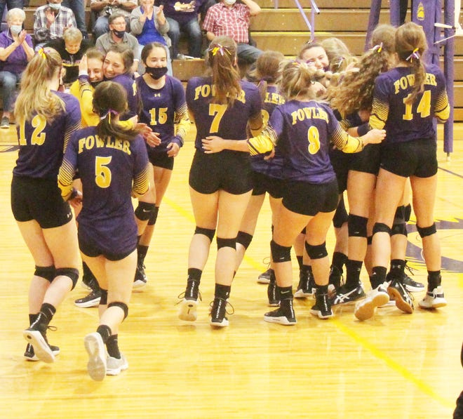The Fowler High School volleyball team celebrates after defeating Limon for the Class 2A Region 5 Tournament championship. The Grizzlies will next play at the Class 2A State Tournament at the Broadmoor World Arena in Colorado Springs on May 12-13.