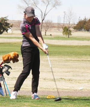 Swink High School's Kinzie Ensor drives from the ninth tee at the 2019 La Junta girls golf invitational. Ensor was the medalist in two tournaments last week.