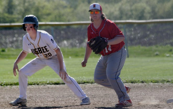 Ernie Boggs of Higbee (#20) extends his lead from first base Friday while Marion County first baseman Jonathan Goodwin moves into defensive position. Boggs and the Tigers baseball team suffered a`12-2 home loss to the Mustangs from Philadelphia in 5 innings.