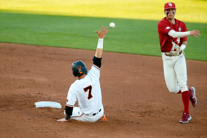 Oklahoma's Brandon Zaragoza (4) throws to first to complete a double play after forcing out Oklahoma State's Max Hewitt (7) in the third inning of last Friday's Bedlam game in Stillwater.