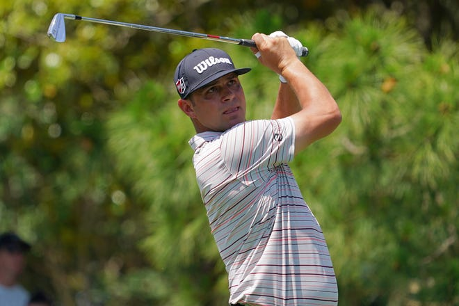 Gary Woodland of Delray Beach tees off on the 8th hole during the second round of the Valspar Championship. Jasen Vinlove-USA TODAY Sports