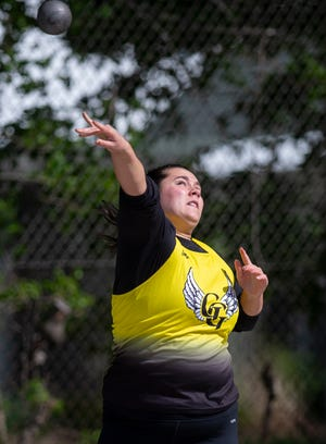 Grace Edwards of James A. Garfield reached 129 feet, 9 inches in the shot put at the Mogadore Invitational.