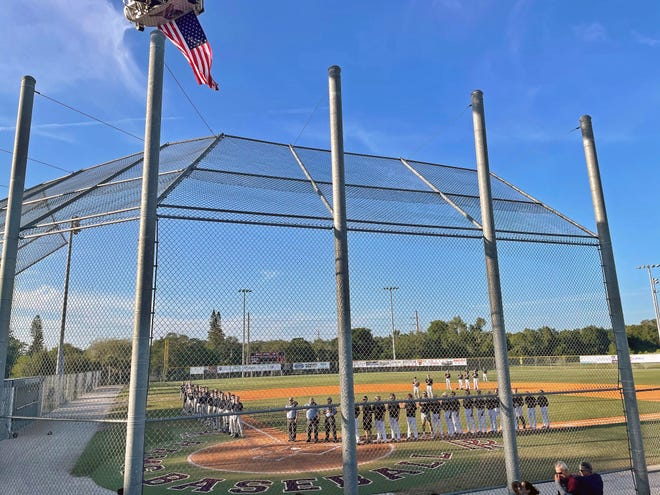 Riverview and Plant City Durant take the field prior to the start of the Class 7A-District 8 final at the Rams field.
