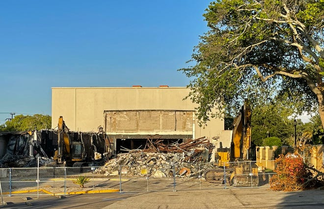 Workers have been demolishing the old Players Centre for Performing Arts building in Sarasota, where the community theater presented plays and musicals for more than 50 years. The company will move to a temporary space in a former retail store in the Crossings at Siesta Key, formerly known as the Southgate mall.