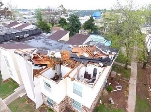 Cimarron Terrace Apartments in Shawnee suffered from many damages due to the hail storm Wednesday night.