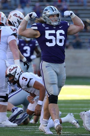 Kansas State defensive end Wyatt Hubert, a Shawnee Heights product, was waiting to hear his name called Saturday during Day 3 of the NFL Draft in Cleveland.