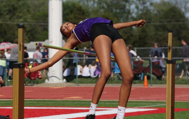 Topeka West's Makinsey Jones cleared 5-2 to capture the high jump title at Friday's Shawnee Heights Invitational.