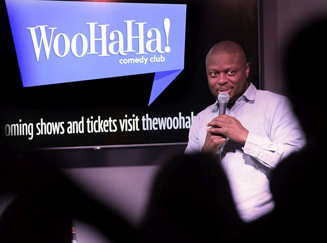 Comedian Orlando Baxter performs at the WooHaHa! Comedy Club in 2019.
