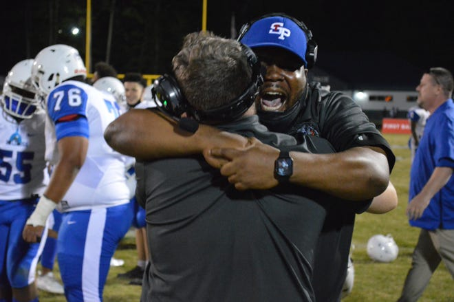 The St. Pauls High School football team earned a 34-23 win at Washington High School on April 30, 2021, to clinch the NCHSAA 2-AA East Regional title.