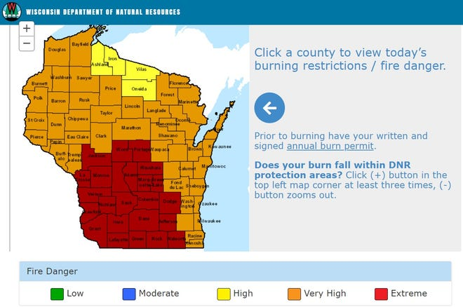 Fire danger in Wisconsin for Saturday, May 1, 2021.