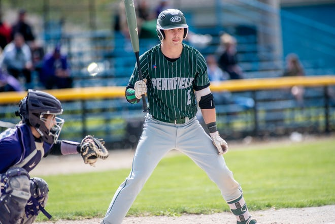Pennfield's Cody Hultink (2) steps up to bat on Saturday, May 1, 2021 at Nichols Field at Bailey Park in Battle Creek, Mich.