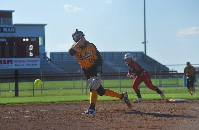 Colonel Crawford's Lauren Frietchen pitches against Bucyrus.