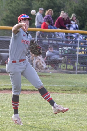 Westfall's Luke Blackburn throws the ball to first base during a game against Unioto on Friday, April 30 2021.