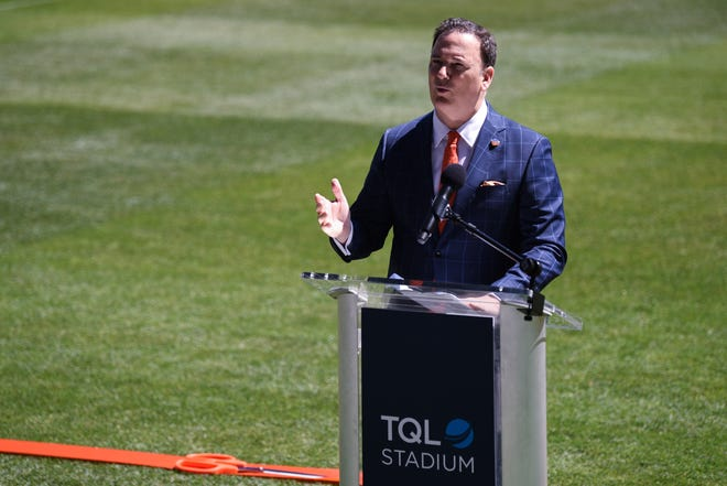 FC Cincinnati's TQL Stadium officially opened on Saturday afternoon with the ribbon cutting ceremony, as team owners, politicians, representatives from the West End, the neighborhood where the stadium is located, and even Major League Soccer Commissioner Don Garber came to praise the stadium.  FC Cincinnati President Jeff Berding addresses the crowd.