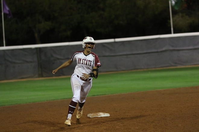 Maya Martinez hit a walk off home run to cap a New Mexico State comeback victory on Friday. She tied Saturday's game against Utah Valley as the Aggies came from behind again to sweep UVU.