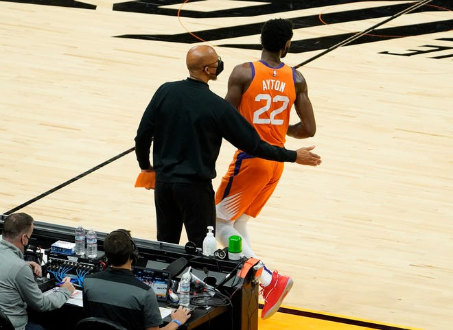 Apr 30, 2021; Phoenix, Arizona, USA; Phoenix Suns center Deandre Ayton (22) returns to the game against the Utah Jazz in the first half at Phoenix Suns Arena. Mandatory Credit: Rob Schumacher-Arizona Republic
