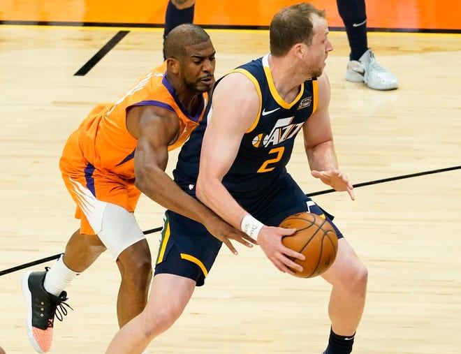 Apr 30, 2021; Phoenix, Arizona, USA; Phoenix Suns guard Chris Paul (3) pressures Utah Jazz guard Joe Ingles (2) in the first half at Phoenix Suns Arena. Mandatory Credit: Rob Schumacher-Arizona Republic