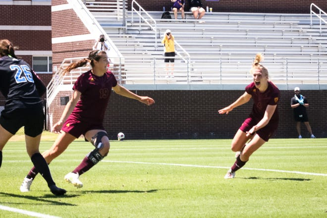 ASU soccer celebrates its goal late in regulation by Cori Sullivan against Duke on Saturday. Duke won 2-1 in double overtime in the NCAA Tournament second round.