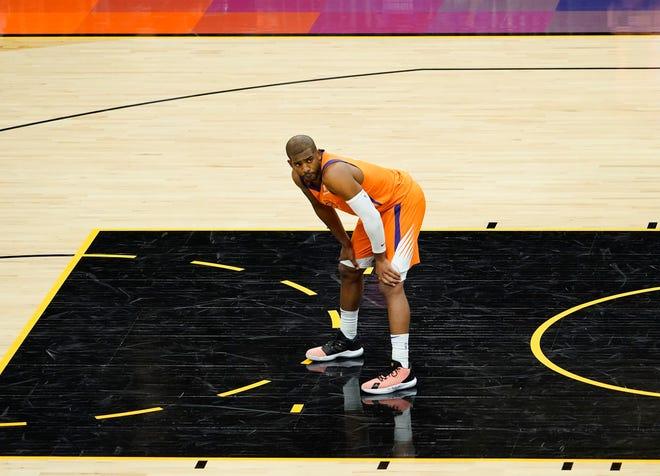 Apr 30, 2021; Phoenix, Arizona, USA; Phoenix Suns guard Chris Paul (3) against the Utah Jazz in the first half at Phoenix Suns Arena. Mandatory Credit: Rob Schumacher-Arizona Republic