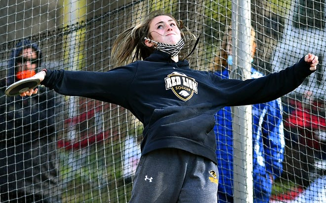 Red Lion's Kylyn McIntire throws shot put during the Ray Geesey Track and Field Invitational at Dallastown Area High School in York Township, Friday, April 30, 2021. Dawn J. Sagert photo