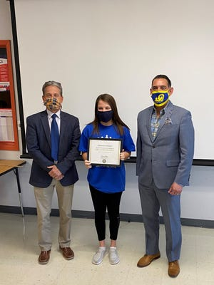 San Angelo Central's Delaney Grimes, center, was among 15 students that received scholarships during the Rise and Teach Education Conference on April 20-21.