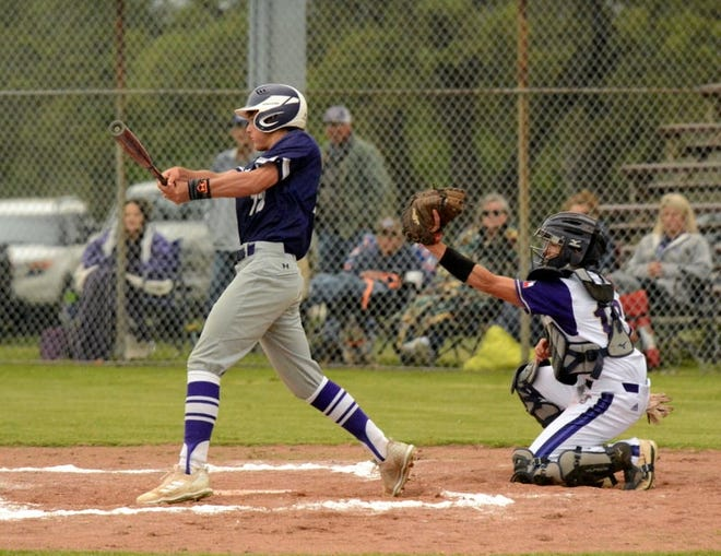 A Mason High School baseball player connects on a pitch against San Saba during a District 29-2A game in 2021.