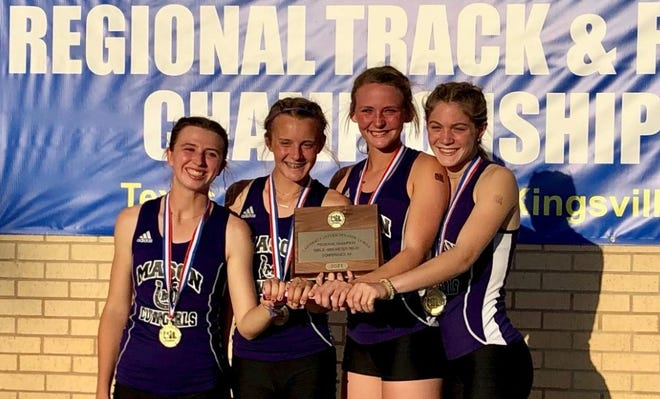 The Mason High School girls 4x400-meter relay team won the Region IV-2A championship April 24, 2021, in Kingsville.