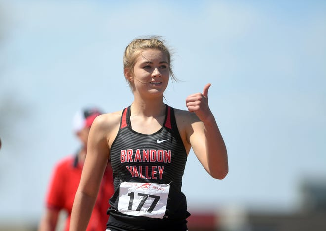 Brandon Valley's Meghan Walker gives a thumbs-up to a teammate after completing her race in the Dakota Relays on Saturday, May 1, 2021, at Howard Wood Field in Sioux Falls.