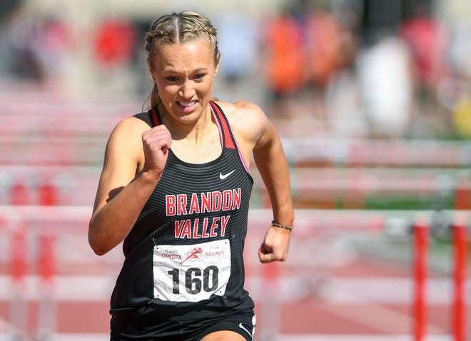 Brielle Dixon and the Brandon Valley girls track and field team won the Metro Conference meet in Sioux Falls on May 6, 2021.
