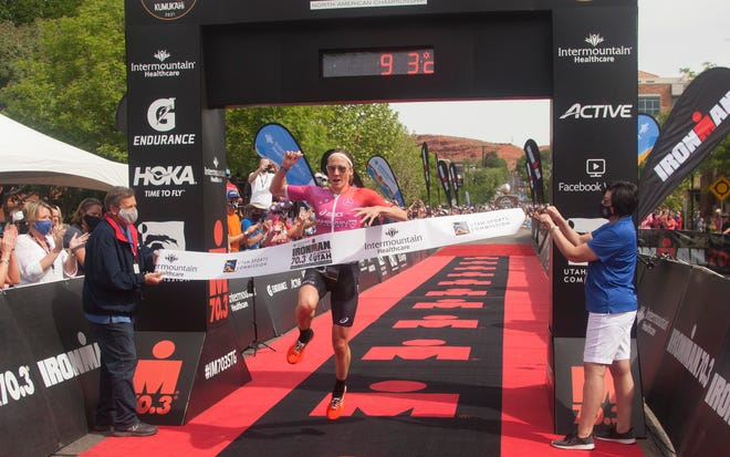 First place woman Daniela Ryf crosses the finish line in the St. George Ironman Saturday, May 1, 2021.