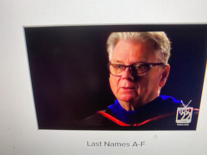 TCC President Jim Murdaugh addressing graduates in virtual ceremony on April 30, 2021.