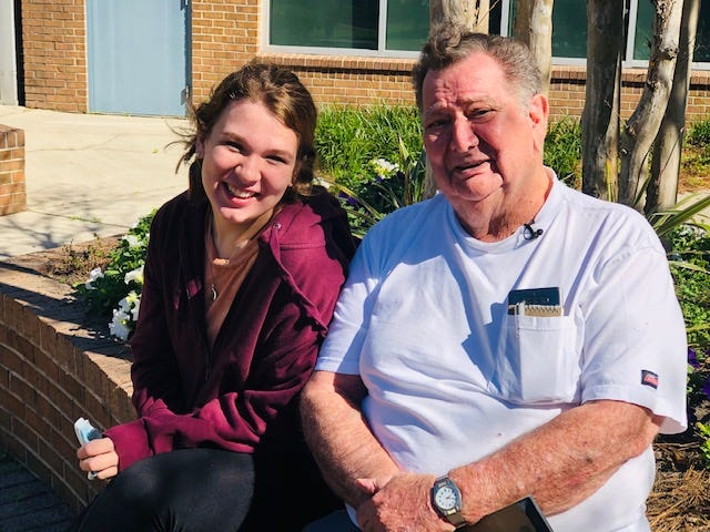 (L-R) TCC student Carra Whaley and her great-grandfather Kenneth Frisbie, Jr., on the campus of Tallahassee Community College.