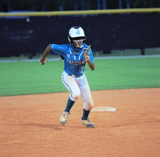 Jensen Beach's Shawna McNair races to third base during the fifth inning of the District 14-4A championship game against Pompano Beach on Friday, April 30, 2021. The Tornadoes won the game 7-3.