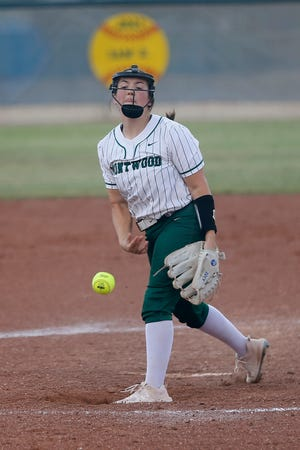 Montwood pitcher Zoey De Baca during the game against Abilene High School in Class 6A softball bidistrict playoffs Friday, April 30, 2021, at Montwood High School in El Paso.