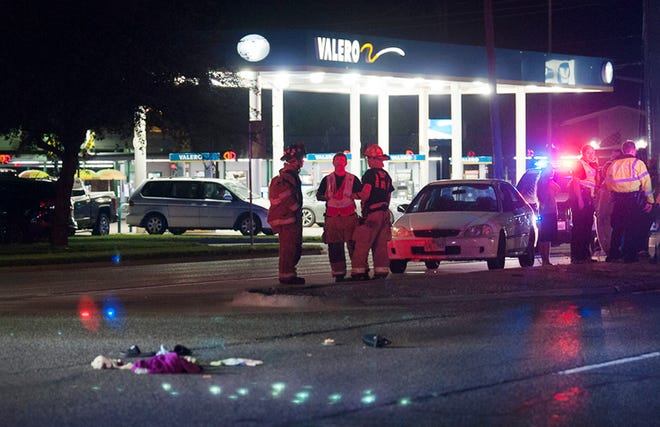 Wichita Falls emergency responders worked the scene of a pedestrian accident on Southwest Parkway Friday night.