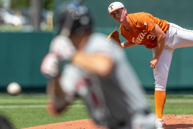 Texas pitcher Pete Hansen throws a strike past Texas Tech's Easton Murrell at UFCU Disch-Falk Field in Austin on Sunday. The Horns avoided the sweep by beating the Red Raiders 11-3.
