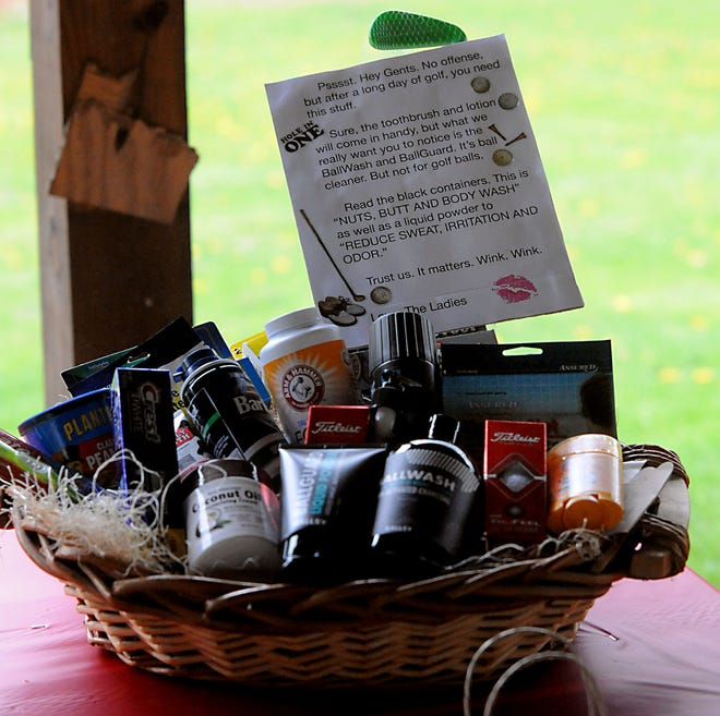 One of the many gift baskets available to bid on during the Alliance Chamber of Commerce Women's Division Golf Outing at Sleepy Hollow Country Club on Friday.