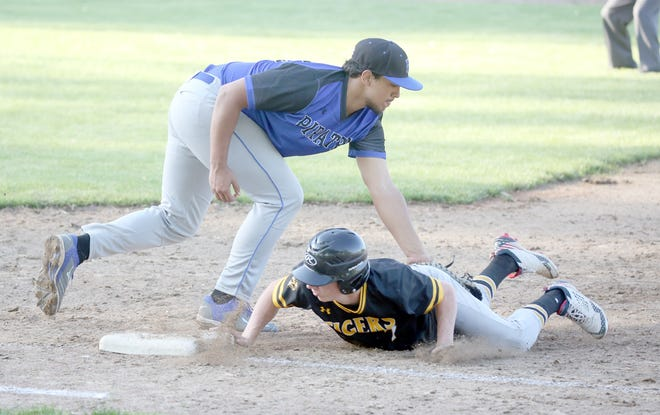 Boonville senior first baseman Saylor Marquez applies the tag on a Versailles player during a pick off attempt Thursday at Twillman field in Harley park. Marquez got the game-winning hit in the bottom half of the seventh to lead the Pirates past Versailles 2-1. Boonville also won Friday's game against state-ranked Odessa 10-0 in five innings to improve to 10-5 on the season.
